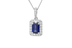 Emerald Cut Blue Sapphire and Diamond 18K White Gold Pendant