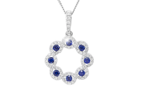 Blue Sapphire and Diamond Fancy 18K White Gold Pendant