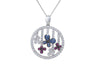 Butterfly Diamond & Sapphire & Ruby 18K White Gold Pendant