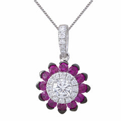 Flower Shaped Diamond & Ruby 18K White Gold Pendant