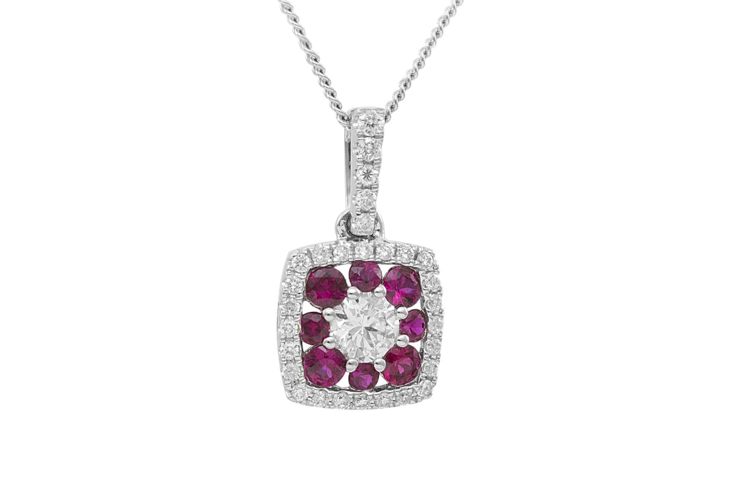 Ruby and Diamond Square Shaped 18K White Gold Pendant
