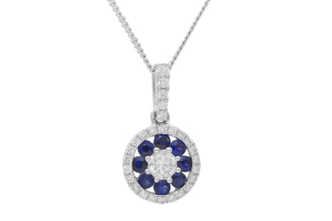 Blue Sapphire and Diamond Halo 18K White Gold Pendant