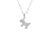 Dog Shape Diamond 18K White Gold Pendant
