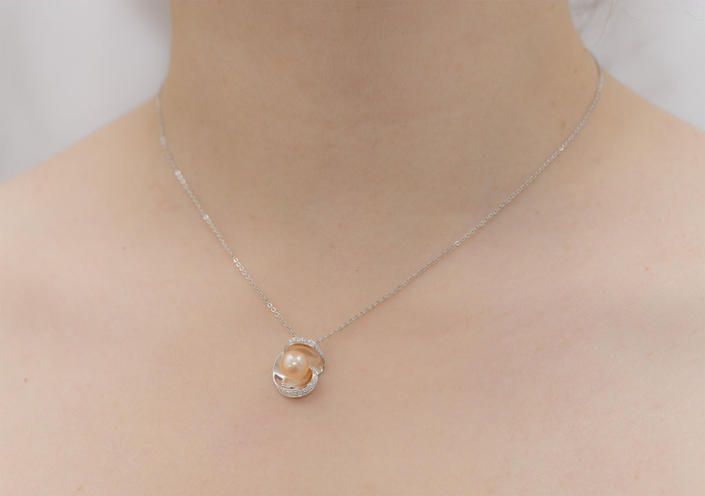 Pink Pearl and Diamond 18K White Gold Pendant