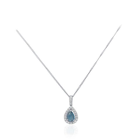 Pear Cut Aquamarine and Diamond Halo 18K White Gold Pendant