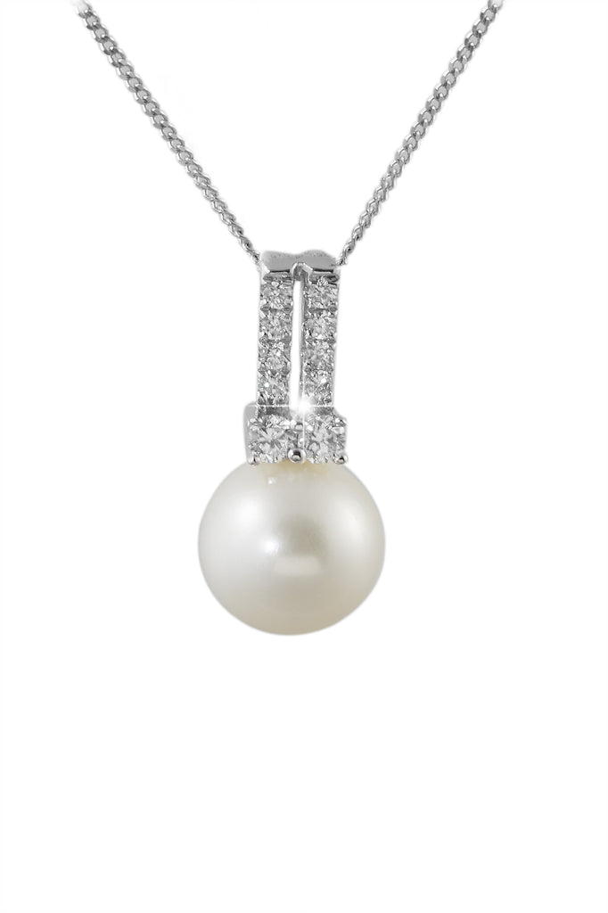 Pearl and Diamond 18K White Gold Pendant