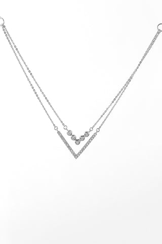 V Shaped Diamond 18K White Gold Necklace