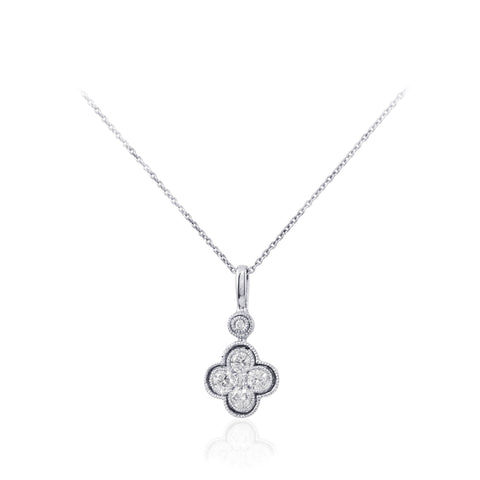 Diamond Clover Design 18K White Gold Pendant