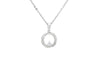 Circle Shaped Diamond 18K White Gold Pendant