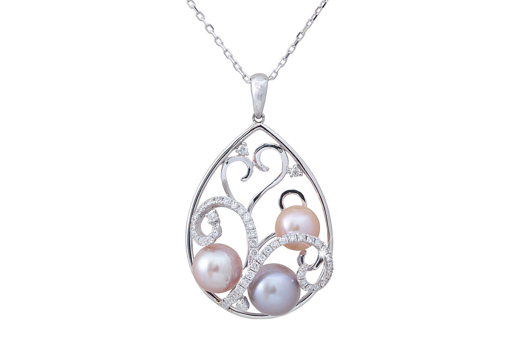 3D Pearl and Diamond 18K White Gold Pendant