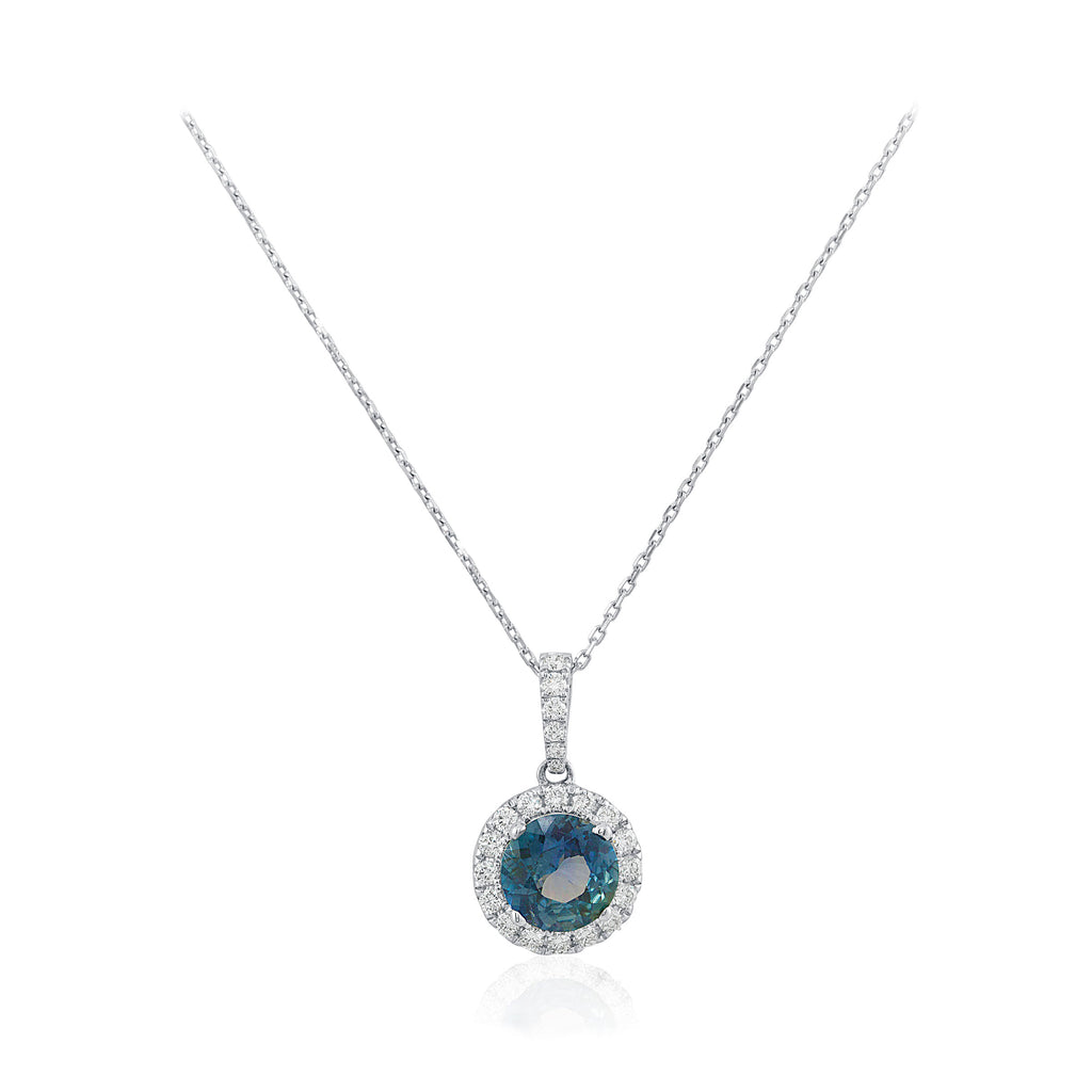 Teal Blue Round Cut Sapphire and Diamond Halo  18K White Gold Pendant
