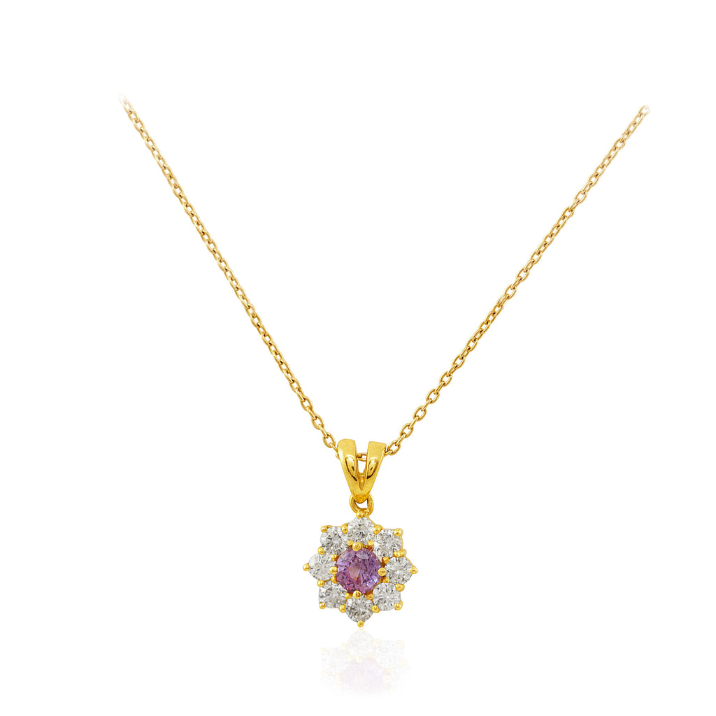 Diamond and Pink Sapphire Cluster 18K White Gold Pendant