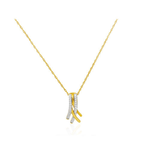 Braided Diamond 18K Yellow Gold Pendant
