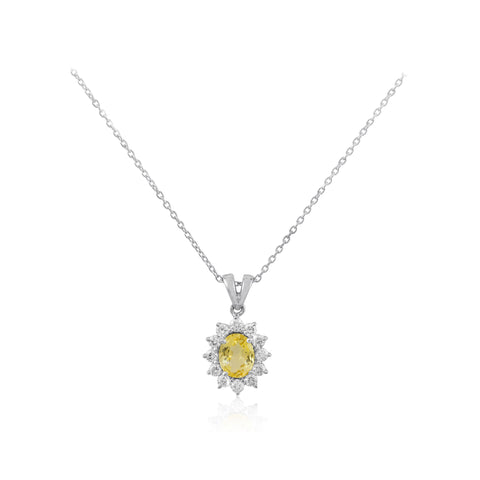 Diamond and Oval Cut Yellow Sapphire Halo 18K White Gold Pendant