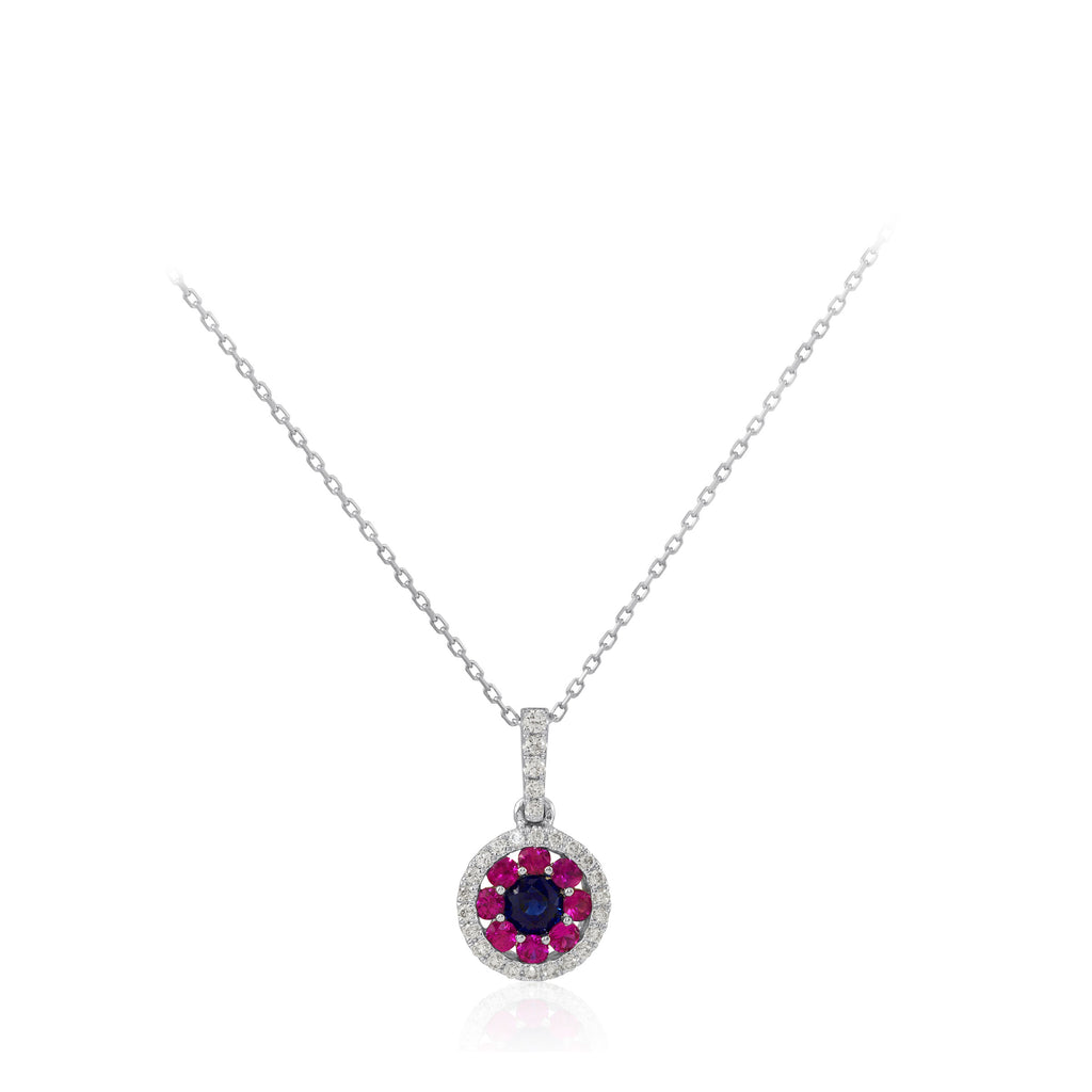 Multi Colour Blue and Pink Sapphire and Round Diamond 18K White Gold Pendant
