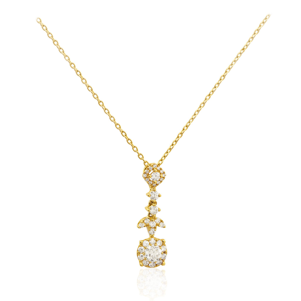 Multi Stone Diamond 18K Yellow Gold Pendant