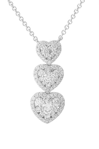Three Tier Heart Diamond 18K White Gold Necklace