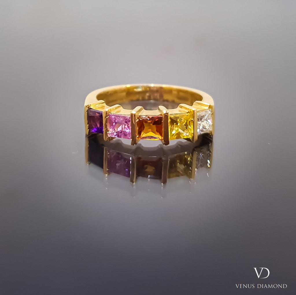 18k Yellow Gold Rainbow Ring with Diamond, Sapphires and Amethyst