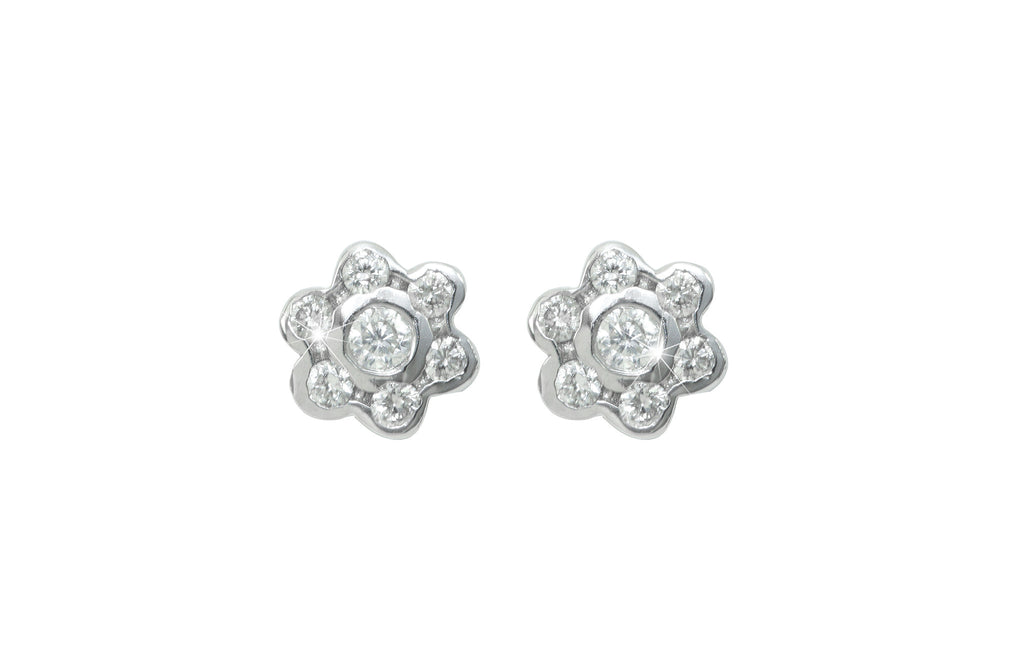 Rub Over Diamond Cluster 18K White Gold Stud Earrings
