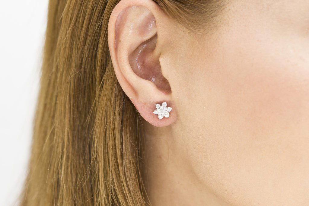 Multi Stone Diamond Flower 18K White Gold Stud Earrings