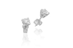 Round Brilliant Cut Diamond 18K White Gold Stud Earrings