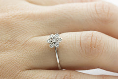 Seven Stone Diamond Cluster 18K White Gold Ring - OUT OF STOCK