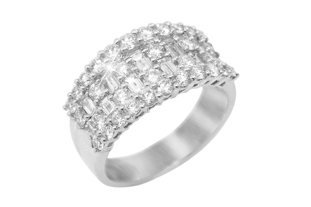 Four Row Diamond 18K White Gold Ring - OUT OF STOCK