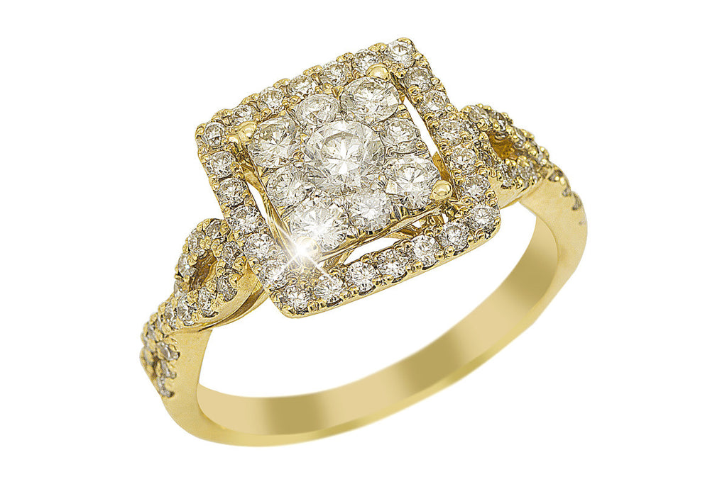 Illusion Set Diamond Halo 18K Yellow Gold Ring - OUT OF STOCK