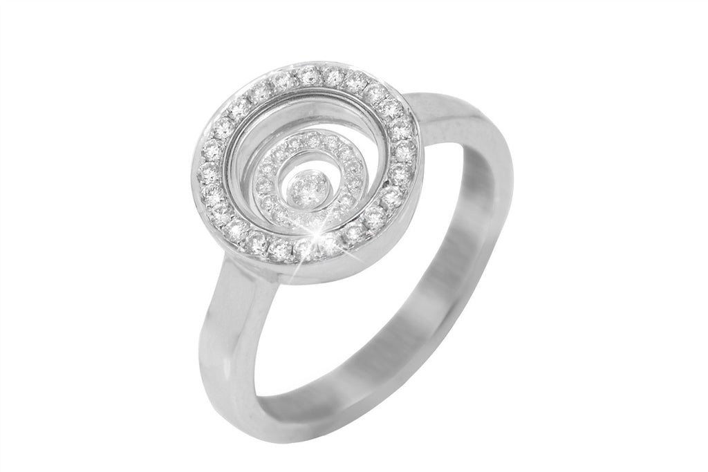 Two Row Circular Glass Faced Diamond 18K White Gold Ring - OUT OF STOCK