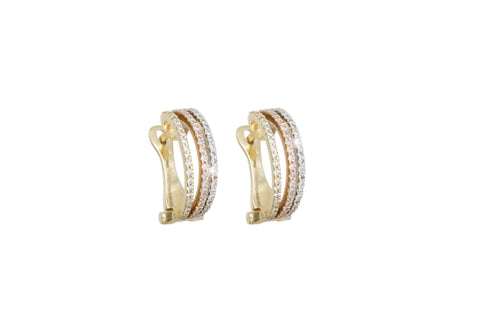 Diamond 14K Three Colour Gold Hoop Earrings
