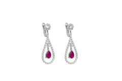 Pear Shaped Ruby and Diamond 18K White Gold Dangly Earrings