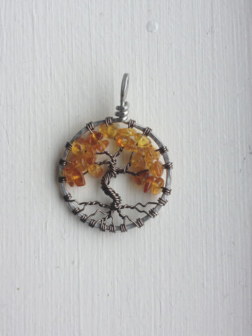 Amber with Antique Brass Tree