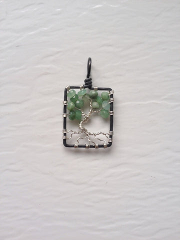 Chrysoprase with Sterling Silver Tree