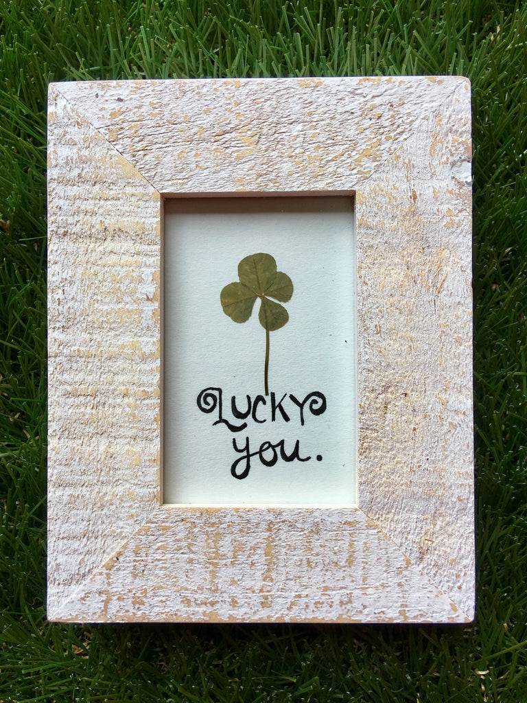4-Leaf Clover with Weathered White Frame