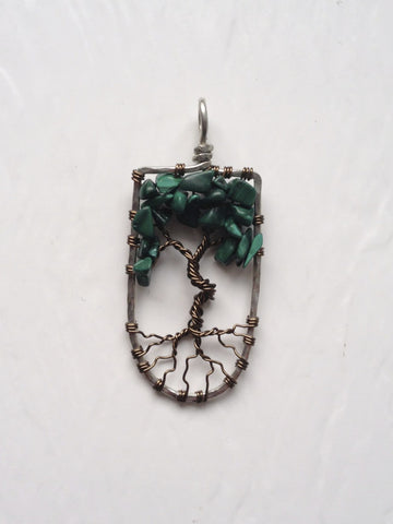 Malachite with Antique Brass Tree