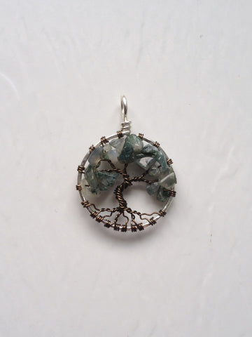 Moss Agate with Antique Brass Tree