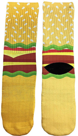 Hamburger Socks - Fun Crazy Cool Novelty Socks - Swaggy Socks
