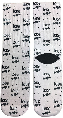 Cupids Arrow Through Heart Love Socks - Fun Crazy Cool Novelty Socks - Swaggy Socks