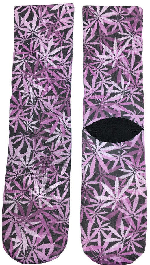Pink Weed Leaf Socks - Fun Crazy Cool Novelty Socks - Swaggy Socks