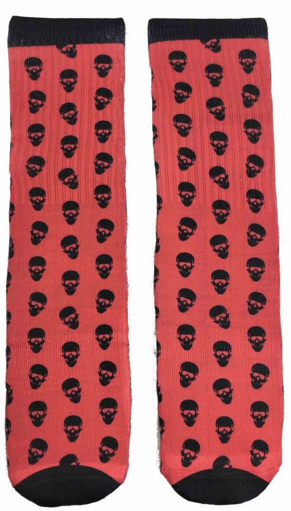 Red and Black Skulls Socks - Fun Crazy Cool Novelty Socks - Swaggy Socks