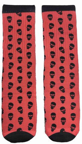 Black and Red goth Skull Socks