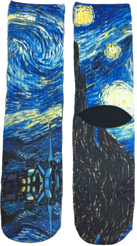 Starry Night Art Socks - Fun Crazy Cool Novelty Socks - Swaggy Socks