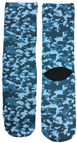 Navy Blue Camouflage Socks - Fun Crazy Cool Novelty Socks - Swaggy Socks