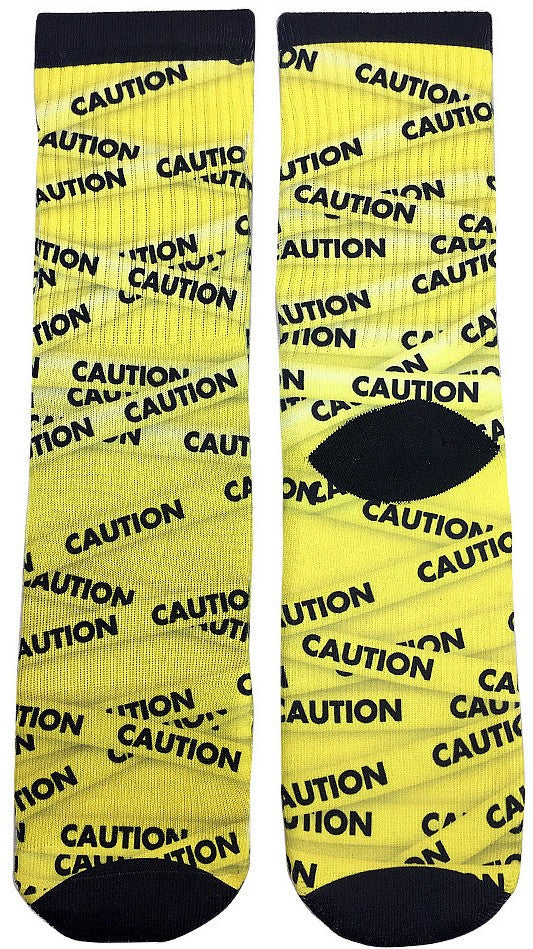 Caution Tape Socks - Fun Crazy Cool Novelty Socks - Swaggy Socks