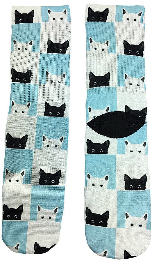 Checkered Cat Socks - Fun Crazy Cool Novelty Socks - Swaggy Socks