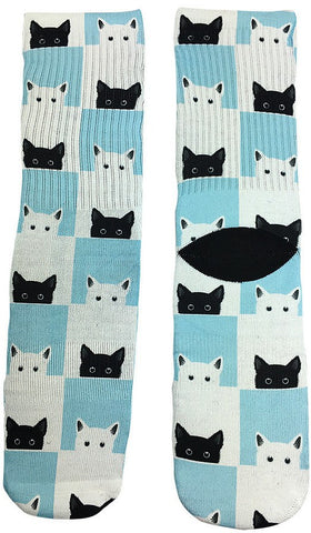 Checkered Novelty Cat Socks