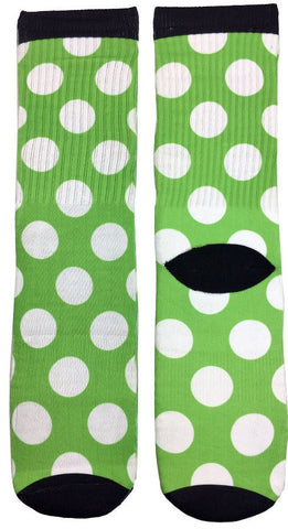 Green Apple Polka Dot Socks - Fun Crazy Cool Novelty Socks - Swaggy Socks