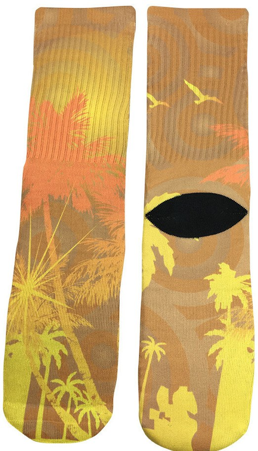 Sunset Palm Trees Socks - Fun Crazy Cool Novelty Socks - Swaggy Socks
