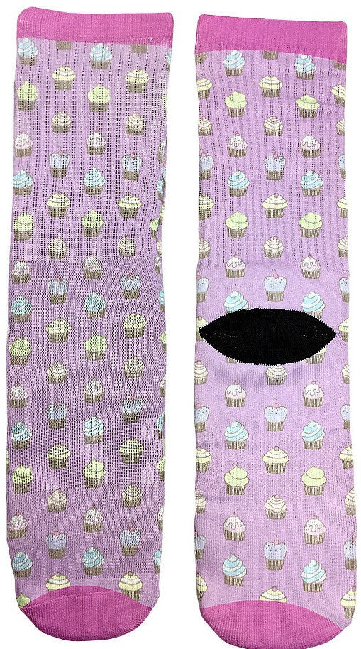 Decorative Pink Cupcake Socks - Fun Crazy Cool Novelty Socks - Swaggy Socks