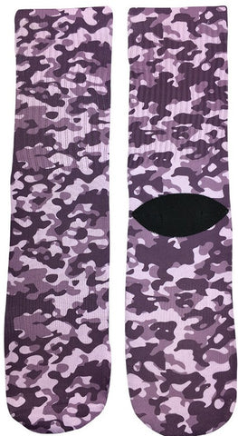 Purple Camouflage Socks - Fun Crazy Cool Novelty Socks - Swaggy Socks